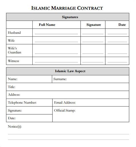 islamic marriage certificate template marriage contract template 7 free documents in