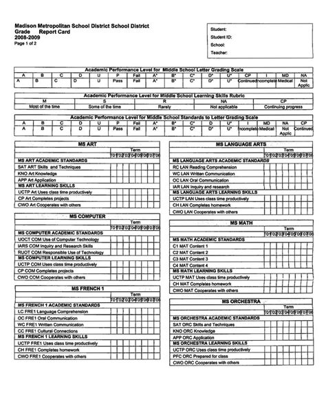 Grade Standards Based Report Card Template by School Information System S Quot Standards Based