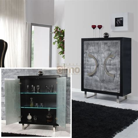 meuble bar design noir portes verre d 233 cor m 233 tal decor