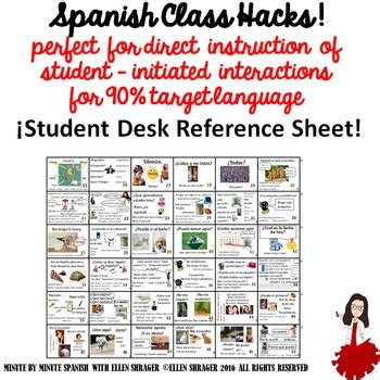 student desk in spanish student desk spanish survival phrases for ci and 90 tl tpt