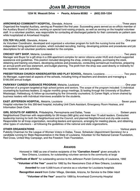resume templates volunteer work hospital volunteer resume exle resume exles