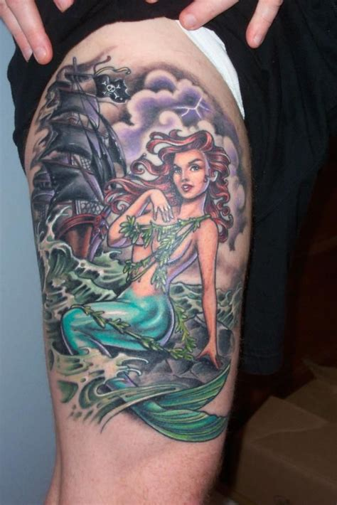 pinterest tattoo pin up siren pinup with schooner tattoo by hannah aitchison i