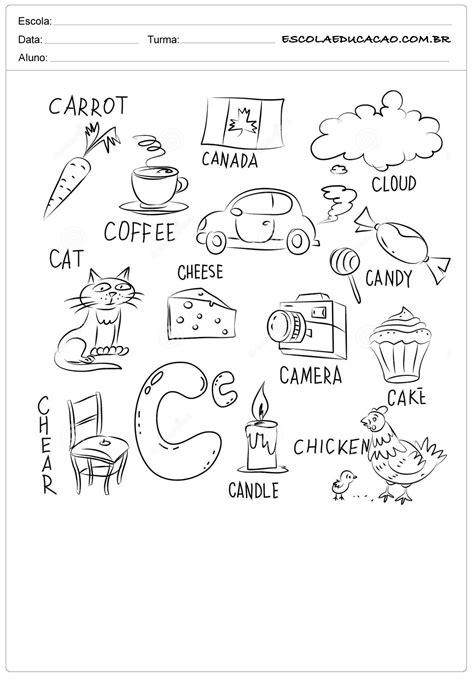 Atividade de inglês para colorir - Escola Educação