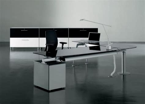 Modern Glass Office Desk Enchanting L Shape Wooden Office Desks With Drawers In Grey Accent And Appealing Office Chair In