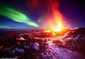 Northern Lights Landscaping Earth Solar Wind And Northern Lights And Molten Lava Come Together In Landscape That
