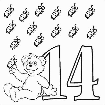 coloring pages of the number 14 babybear number 14 coloring pages printfree