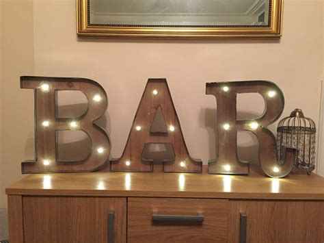freestanding bar wooden rustic 16 quot led light up letters