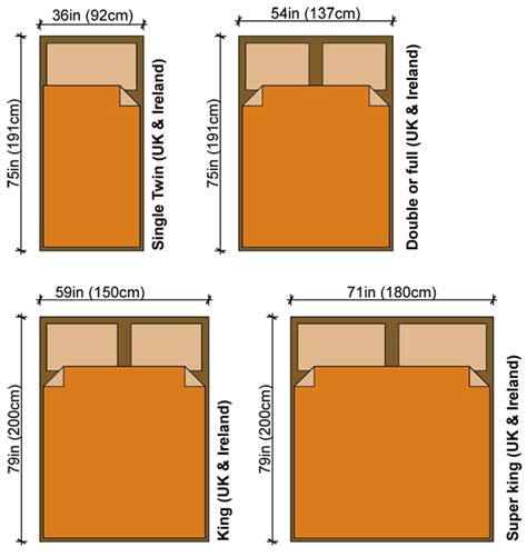 measurements of a king size bed bed size