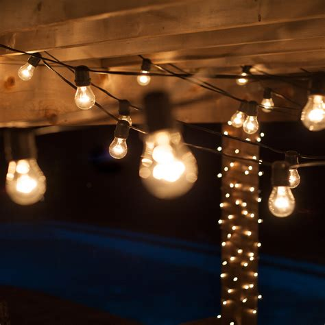 Patio Light Stringer Patio Lights Commercial Clear Patio String Lights 24 A15 E26 Bulbs Black Wire