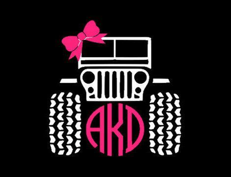 jeep sticker ideas jeep circle monogram with bow decal 5 inch x 5 inch by