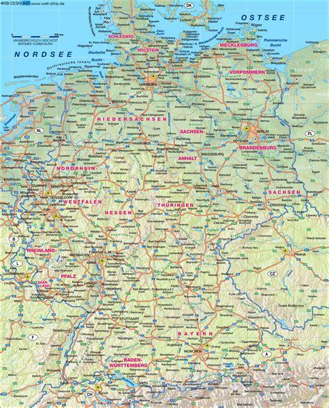 karte deutschland karte deutschland physikalisch 220 bersichtskarte