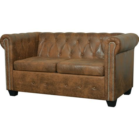 faux chesterfield sofa chesterfield 2 seat faux leather sofa lounge brown buy