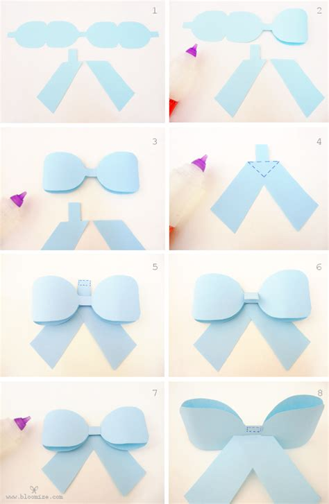 How To Make A Bow With Paper Ribbon - a ribbon bow template bloomize