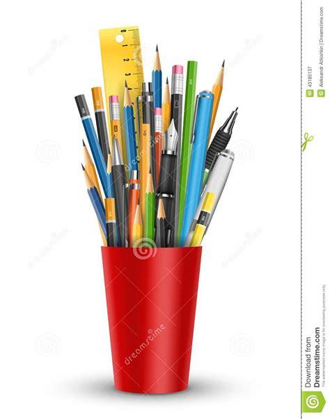Plastik Es Pensil 1 7 X 23 pen and pencils in glass stock vector image 43185137