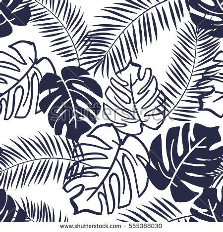 jungle pattern black and white palm leaves silhouette on white background stock vector