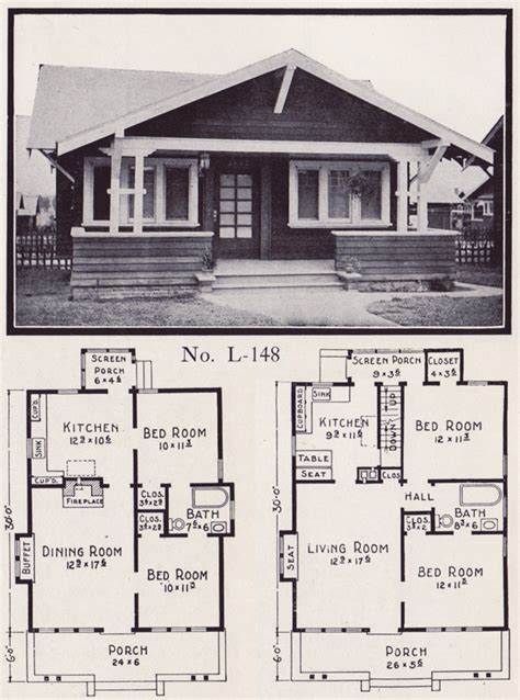 1920s bungalow floor plans 1920s house plans by the e w stillwell co side gable bungalow no l 148