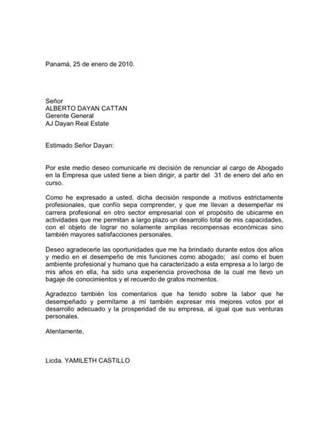 carta de renuncia trabajo doc carta de renuncia laboral
