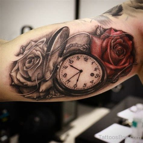 rose and clock tattoo meaning and clock designs pictures