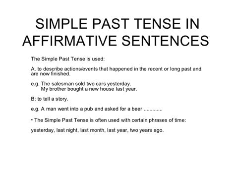 past perfect tense sentence pattern simple past tense in affirmative sentences