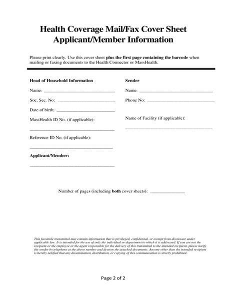 sle masshealth fax cover sheet sle masshealth fax cover sheet free