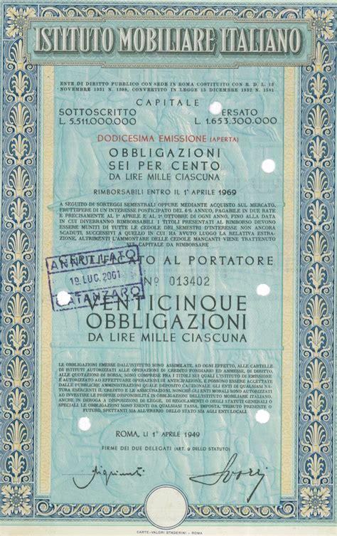 imi istituto mobiliare italiano istituto mobiliare italiano titolo finanziario storico