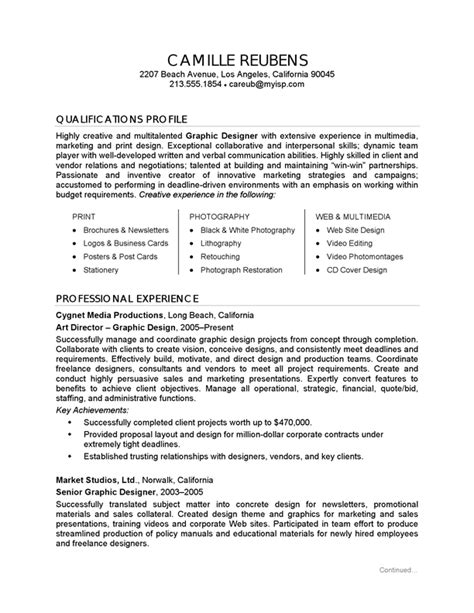 Graphic Design Sle Resumes resume exle graphic design careerperfect