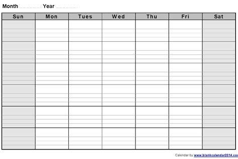 blank week calendar template monthly blank calendar notes landscape sept
