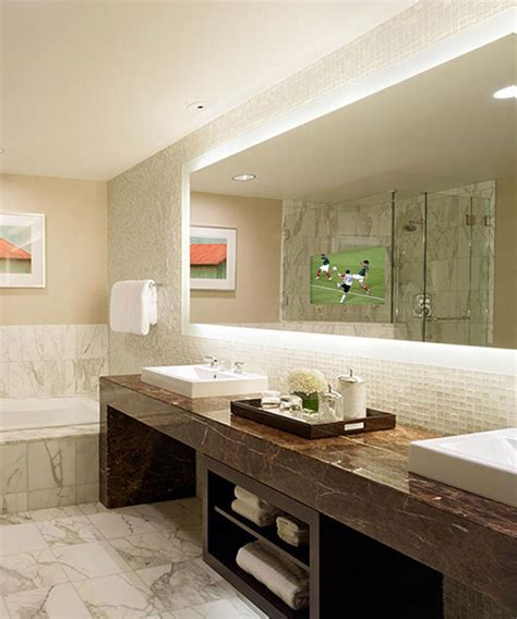 electric bathroom mirrors silhouette is a lighted mirror with a led hdtv