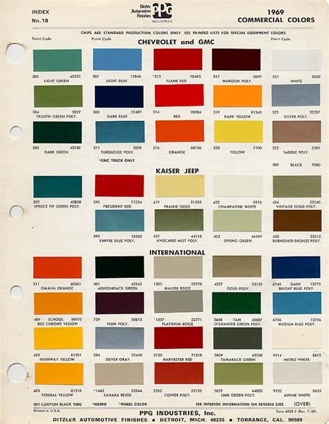 what color is a truck 1972 chevy truck color chart autos post