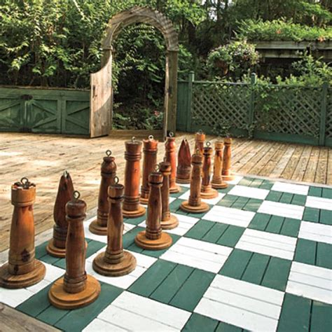 cool backyard chess set garden