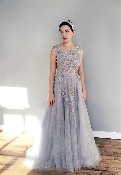 hochzeitskleid in blau gray blue lace wedding dress