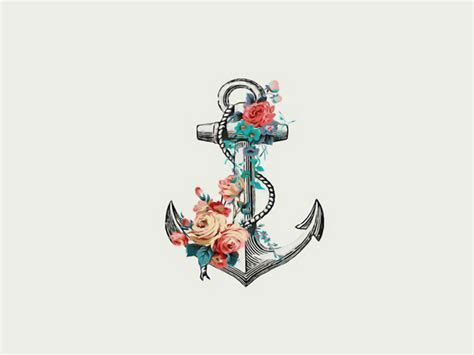 anchor flower tattoo anchor with flowers tattoos