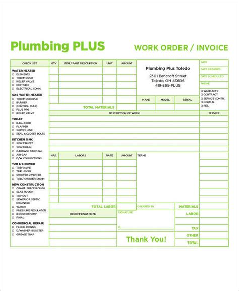 5 Plumbing Invoice Exles In Word Pdf Sle Templates Work Order Invoice Template