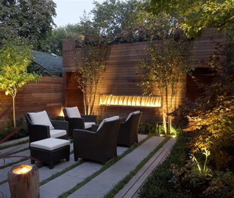 sparkling led lights and concrete patio for modern landscaping ideas for small backyards with Modern Landscaping Ideas For Small Backyards