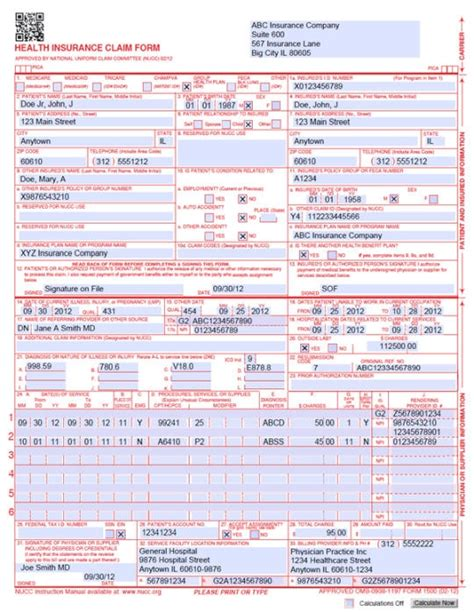 free cms 1500 claim form template health insurance claim form 1500 free