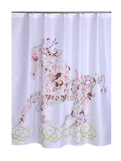 waterproof shower curtains bathroom products polyester fabric horse printed shower