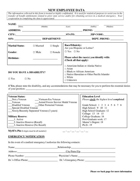 new employee information template best photos of new employee form template employee new