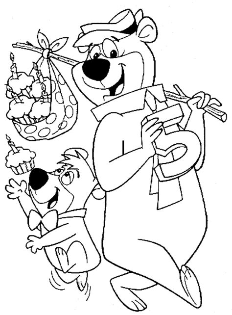 coloring pages of yogi bear yogi bear cartoon coloring sheet for kids