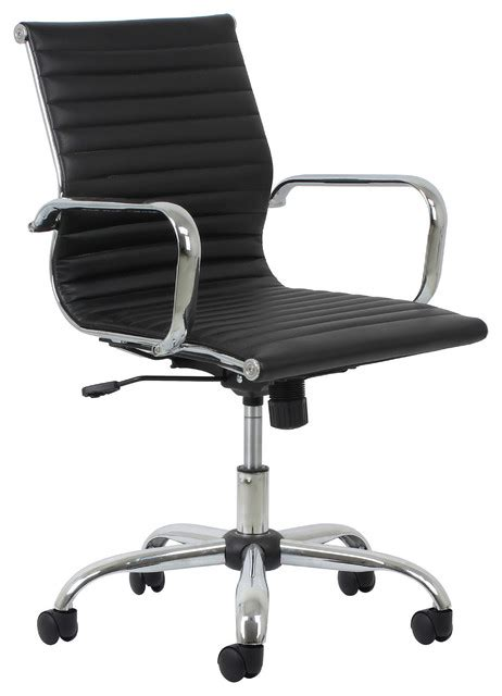 leather and chrome office chairs essentials by ofm swivel ribbed leather chair with arms