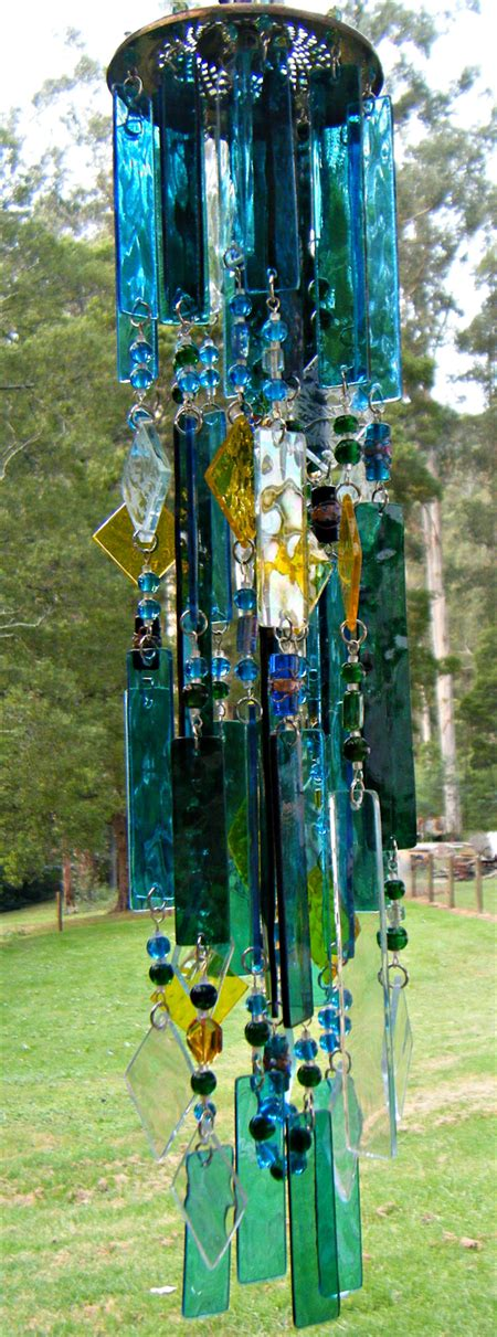 Handcrafted Wind Chimes - stained glass wind chime blue and green handcrafted