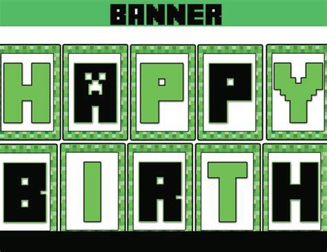 printable happy birthday minecraft banner free printable minecraft happy birthday sign quotes