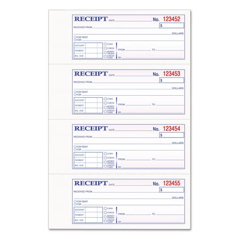Home Depot Tool Rental Price List Pdf by Money Rent Receipt Books By Tops Top46808