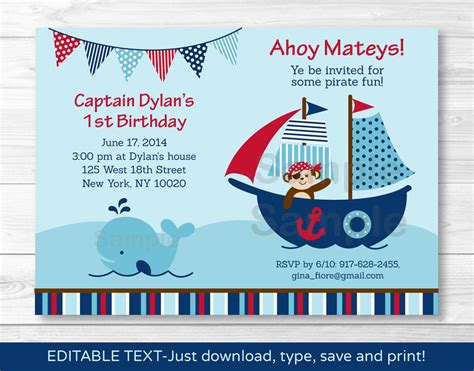 printable naruto birthday invitations pirate monkey nautical whale printable birthday invitation