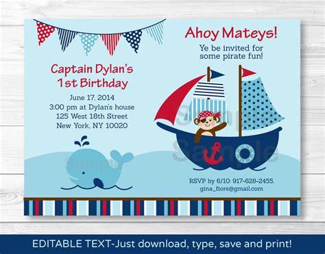 free editable printable birthday invitations pirate monkey nautical whale printable birthday invitation
