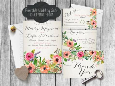 Wedding Invitations Printed Fast by Printable Wedding Invitation Suite Watercolor Flowers