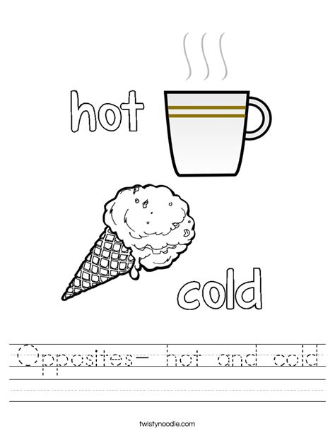 opposites coloring pages preschool opposites hot and cold worksheet twisty noodle