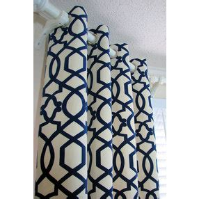 cream and navy curtains pair of decorative designer custom grommet curtains drapes