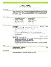resume of tax preparer - Tax Preparer Resume Sample