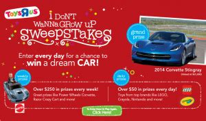Toys R Us Sweepstakes - toys r us i don t wanna grow up sweepstakes iwg win a 2014 corvette stingray
