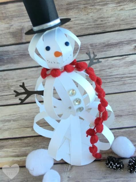 How To Make A Paper Snowman - how to make a snowman craft with paper strips the crafty